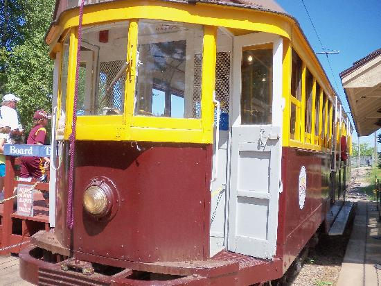 The trolly at the Minnesota Discovery Center.