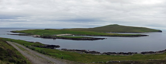 Noss National Nature Reserve: The island of Noss, panorama taken from the Bressay carpark.