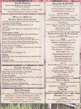 Wagon Wheel Country Cafe Springdale Menu Prices
