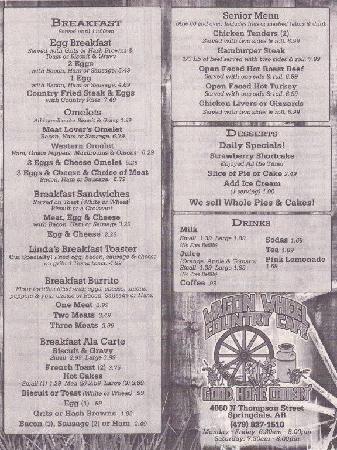 Wagon Wheel Country Cafe Menu