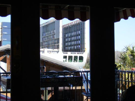 Back of Ship through Window at One Eyed Lizzy's