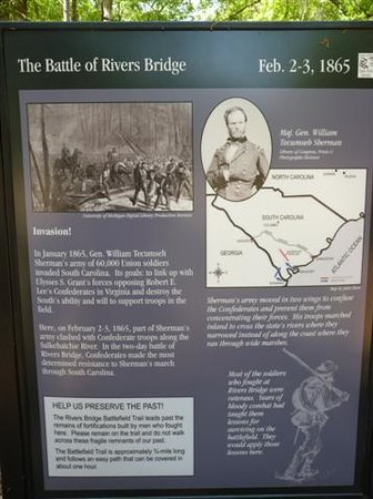 Rivers Bridge State Historic Site: sign describing the battle