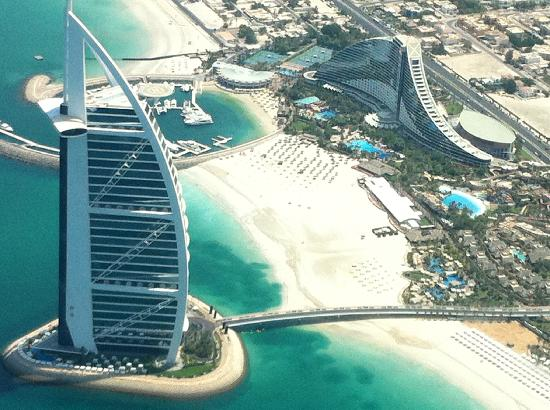 Seawings Seaplane Tours: View of our hotel (Jumeirah Beach) and the 7* Burj al Arab