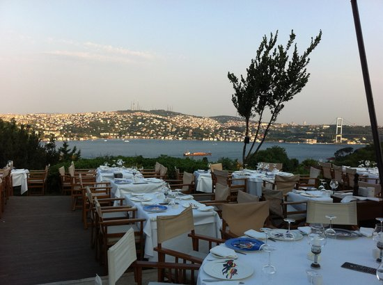 Sunset Grill & Bar: View of the Bosphorus from our table