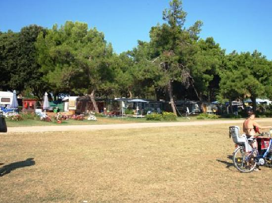 Camping Arena Kazela: Great big grass area between the camping area and water