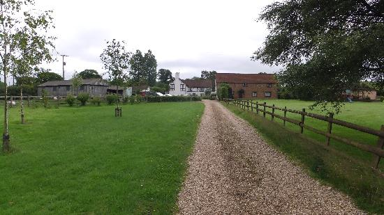 Aylesbeare, UK: View of farmhouse from bottom of drive