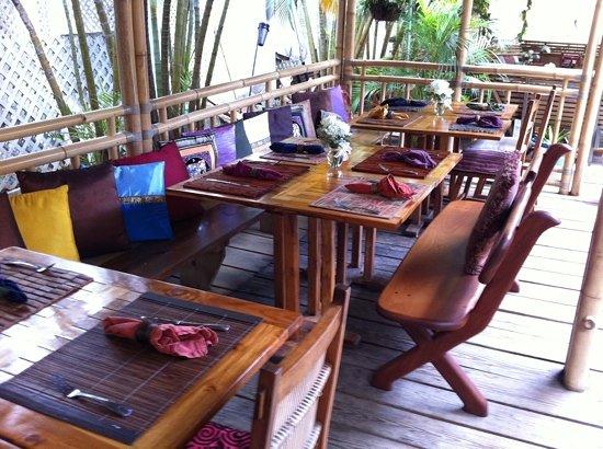 Rhumb Lines : seating under bamboo huts