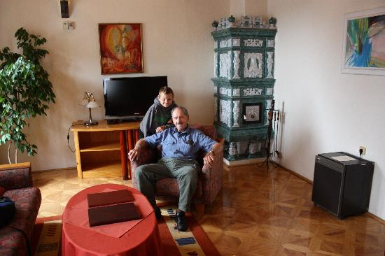 Boutique Hotel Fortuna: My father and son in the bottom floor of our suite