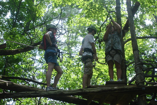 Adventureworks Zip Line Tours: One of the higher platforms, but not the highest.