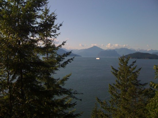 Sea to Sky Climb: BC Ferry crossing Howe Sound, BC as seen from Rocky Mountaineer