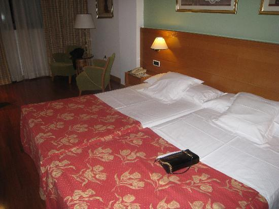 Tryp Malaga Alameda Hotel: Two beds pushed together - FAIL