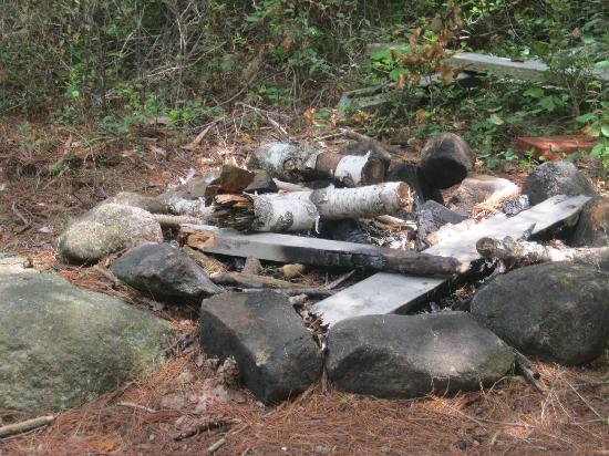 "Adirondack, Estado de Nueva York: remains of the campfire on ""our island"""