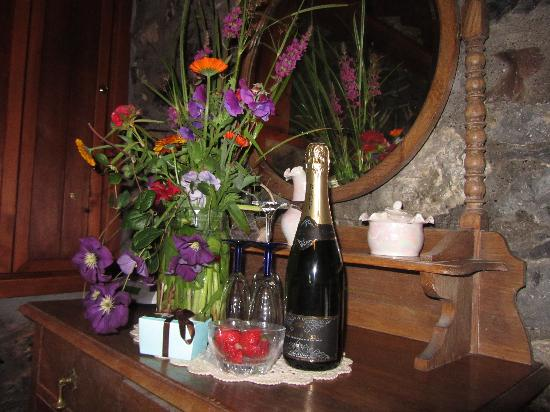 Lawcus Farm Guest House: My husband surprised me with flowers, candy and champagne for our first anniversary