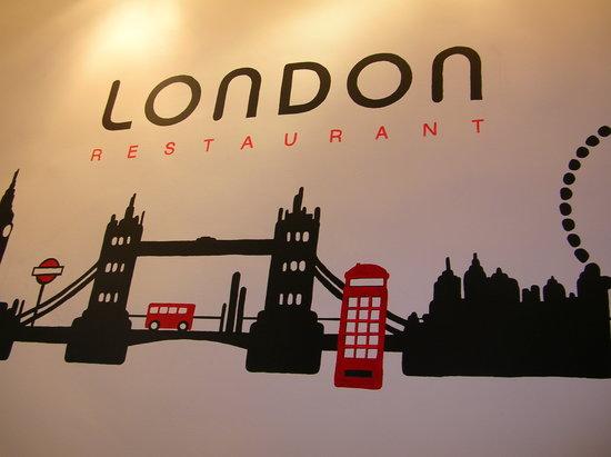 Brasserie London: Déco du mur intérieur