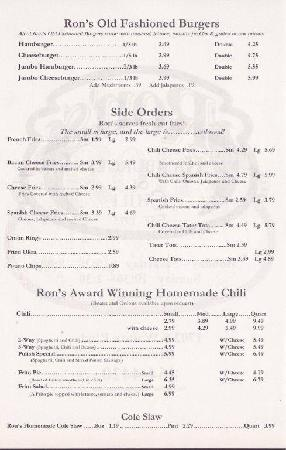 Ron's Hamburger and Chili: Menu