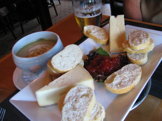 Checkers Bistro : Local Cheese Plate and Roasted Sweet Corn Soup