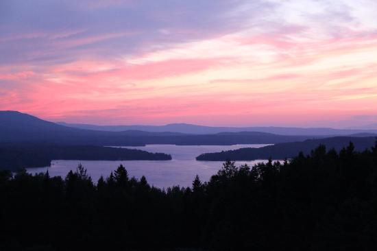 Lodge at Moosehead Lake: Sunset from the deck