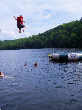 Sunny Point Resort, Cottages & Inn : Jumping in the Lake