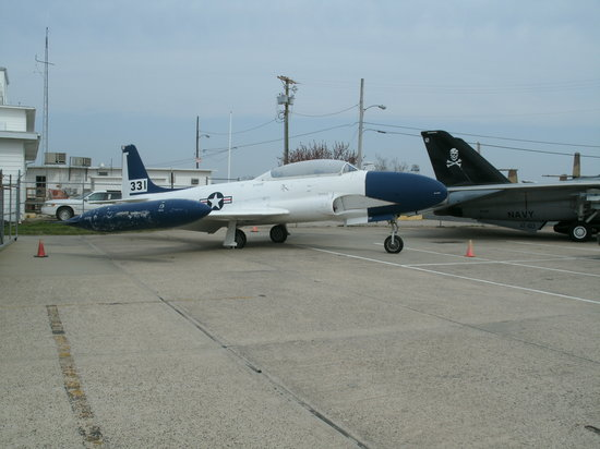 Naval Air Station Wildwood Aviation Museum: Outside- A T-33 Shooting Star