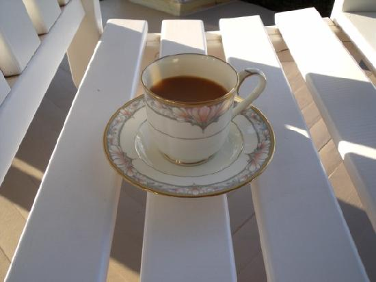 Hudspeth House Bed and Breakfast: My cup of coffee on the porch