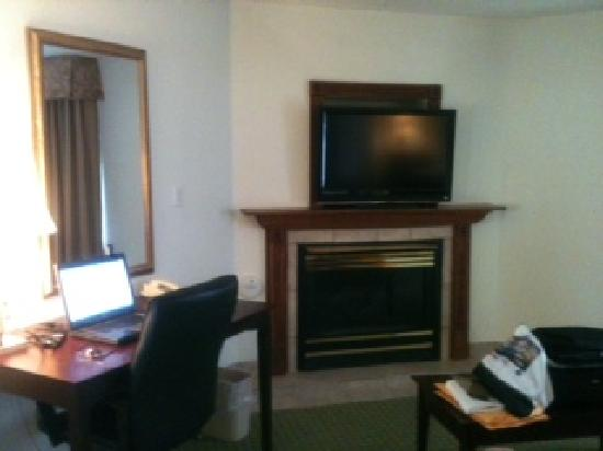 Holiday Inn Express Washington, Indiana: Fireplace and flatscreen TV