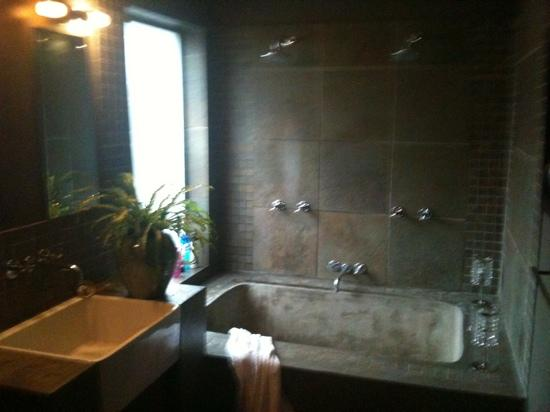 Durban View Guest House: Double sized custom bath with 2 shower heads