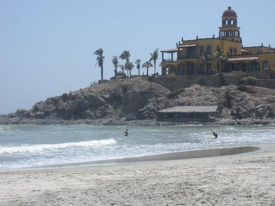 Cerritos Surf Town: View of the Hacienda Cerritos on the hill.
