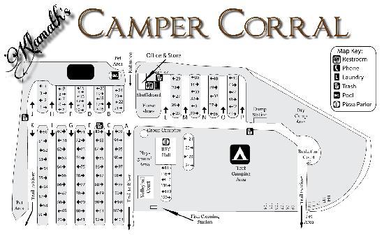 Klamath Camper Corral: Camper Corral Site Map