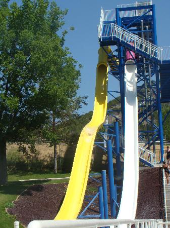 Idaho's World Famous Hot Pools: These are the two big slides.  They're scarier in real life.