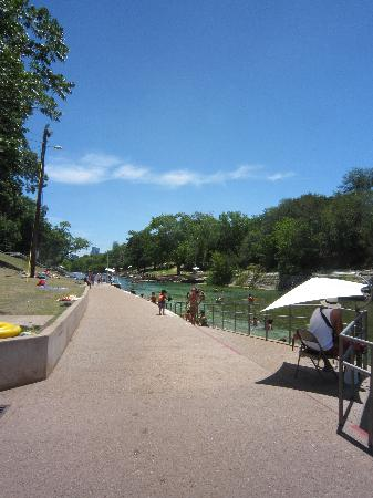 Barton Springs Pool: Looking toward downtown Austin from Barton Springs