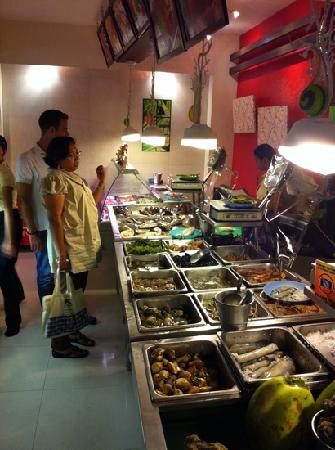Ocho Seafood Grill: One can pick the food and specify how its cooked!