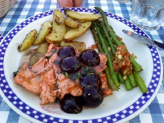 Duke's Chowder House: Salmon with Cherries and Grand Marnier Sauce