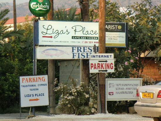 Liza's Place: sign by the road