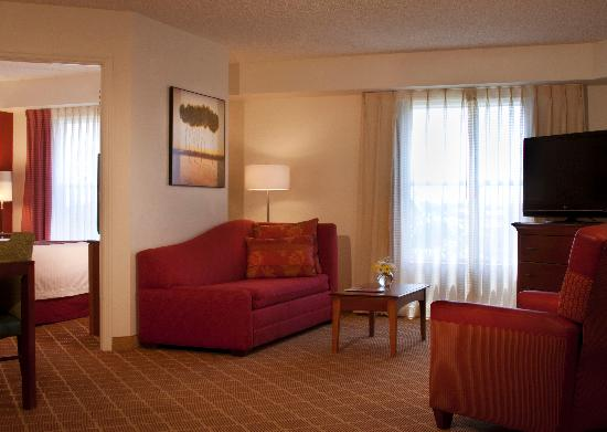 Residence Inn Orlando Lake Buena Vista: The living room area of our suites feature a flat screen television, comfortable sleeper sofa, a