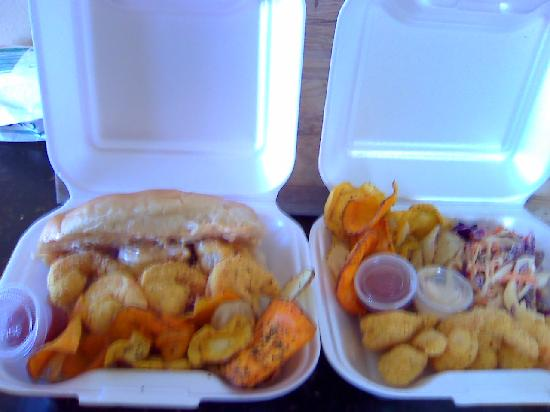 The Homeless Dog Cafe: Try our Shrimp Po Boys or our Philly Cheese Steak. The Double Dip Chicken  will make you  Smile