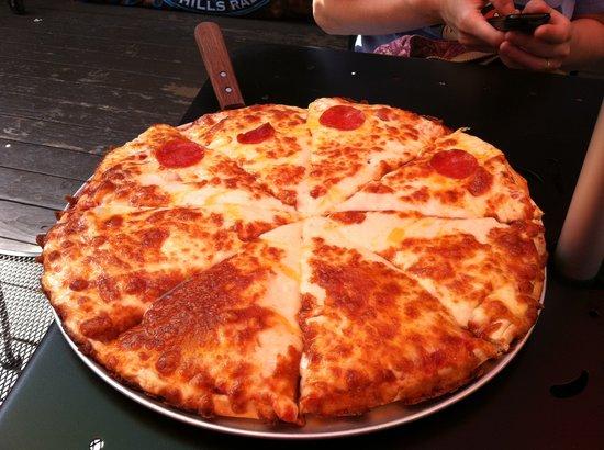 Janes Boardwalk Pizza: Large pizza - half pepperoni, half cheese