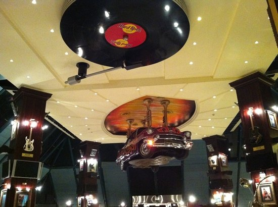 Hard Rock Cafe: this is not an upside down photo! and yes this is the ceiling! lol