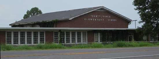 Transylvania Elementary School - appropriately creepy and abandoned and across the highway from