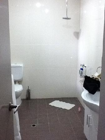 Alice On Todd Apartments: Open plan bathroom with extremely slippery floor when wet.