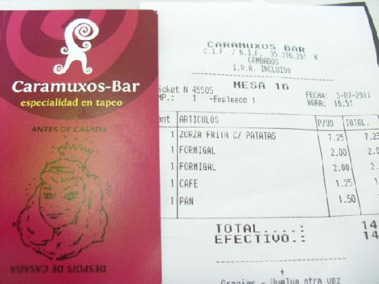 Caramuxos Bar : cuenta