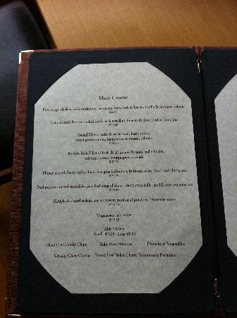 St Kyrans Country House & Restaurant: Dinner Menu