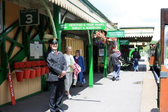 The Mid Hants Railway Watercress Line: The friendly conductor at Alton station