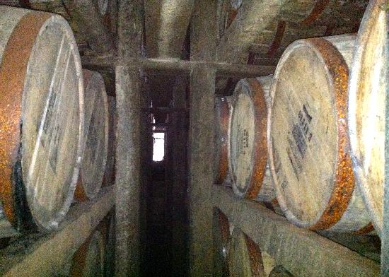 Jim Beam American Stillhouse: Barrels in the warehouse filled with Beam