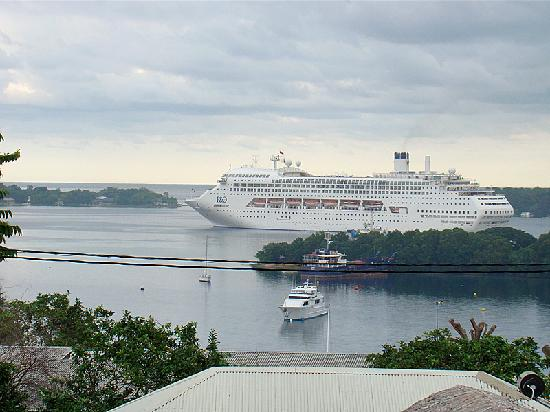 Kaiviti Motel : View with cruise ship
