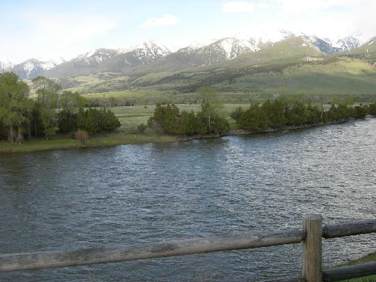 Yellowstone Valley Lodge: view from the deck, just outside cabin door