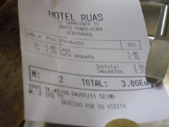 Hotel Ruas: la cuenta.