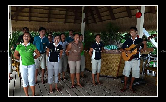 El Nido Resorts Apulit Island: lovely performance by staff on our arrival