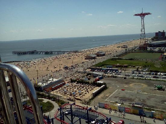 Coney Island USA: View overlooking the adjacent baseball field, parachute tower, beach, and da projekts