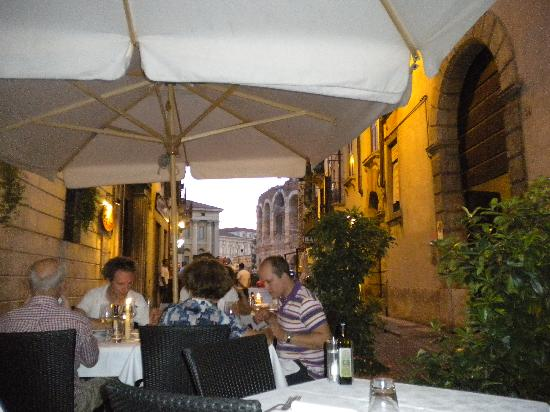 La Griglia: view from our table, arena in the background