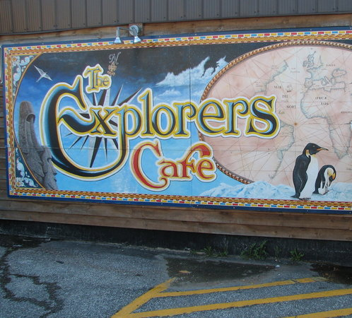 The Explorers Cafe: Painted Mural outside Explorers Cafe Midland